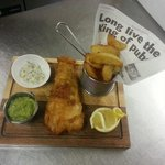 Proper fish and chips homemade tartare sauce and mushy peas