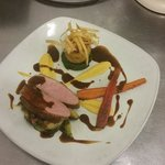 Honey roasted duck breast, sprouts with bacon, fondant potato, anise glazed carrot and red wine