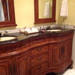 Double basin unit in bathroom