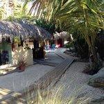 sandy courtyard with wood walkways