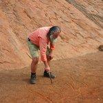 Ned Thompson illustrating the formation of Uluru