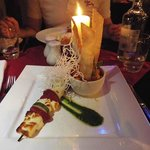Baked haloumi,courgette, sundried tomato kebabs with mango & mint coulee and gnocci