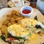 Eggs Benedict with Spinach, bacon, and potato pancakes