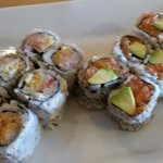Spicy yellowtail and salmon avocado rolls