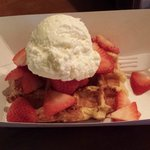 Vanilla Waffle with Strawberries and Creme Frace