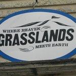 Grasslands sign in Val Marie, SK.