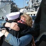 My wife and son after a 9 month deployment