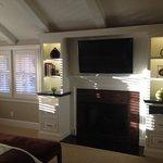 cozy fireplace & big screen