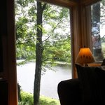 Amazing picture window inside the Bear Cottage giving a panoramic view of the Stream
