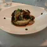 Coffee crusted snapper over risotto