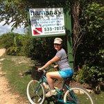 Biking into town.......
