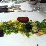 Trio of mangalica pig:  ham, blood, fried pate