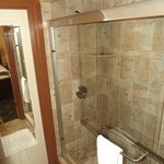 Rhett's Retreat shower, double headed marble walk in