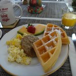 Breakfast with sausage & waffle option