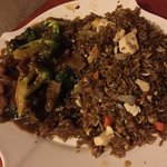 beef fried rice and brocolli with beef