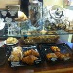 Yummy pastries, especially the hazelnut crescent