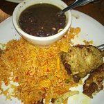 fried beans with fried rice and fried pork