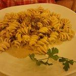 My friend's fusili dish with mushrooms and pancetta