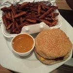 Sweet potato fries and a banquet burger.... Mmmmm