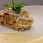 Our famous apple strudel with vanilla cream