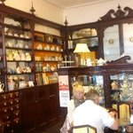 Pharmacy Cafe, Newton Abbot. Original pharmacy fixtures and fittings.