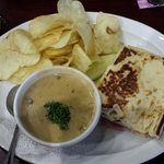 half of Cuban sandwich & a cup of mushroom sherry soup - daily special