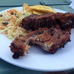 BBQ ribs, plantain and cole slaw