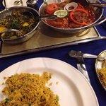 Shashlik Khana, mushroom rice and Sag Aloo