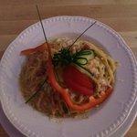 Spaghetti Carbonara £9.45  with bacon, onion & garlic in a cream & herb sauce