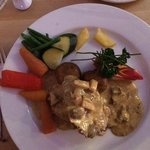 Escalope of Pork Fillet £12.95  served with a mushroom & apple cream sauce