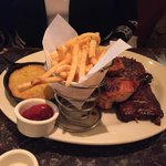BBQ chicken & ribs, fries and cornbread - YUM