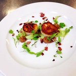 scallops with crispy bacon and pea puree