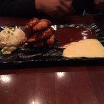 Crispy Tenderloins of Chicken with garlic potatoes BBQ sauce and honey mustard sauce. Looks good