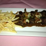 Beef Brochette with fries