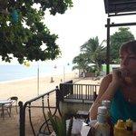 Breakfast area and beach