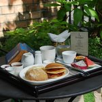 Breakfast service in garden