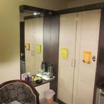 Cupboards and Wall Mirrors. Spartan but works fine.