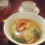 Basil Prawn Noodles in Spicy Wine Broth