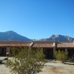 Beautiful day, mountains and the Inn in the desert