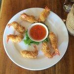 Absolutely delicious giant tempura prawns!