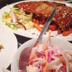 Sticky Chinese style ribs, sweet potato fries and homemade slaw