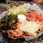 Delicious super nachos, more than enough to share��