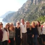 All the girls of our group with Fabrizio with a fantastic view of the beautiful Almalfi Coast