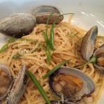 Spicy clams over spaghetti