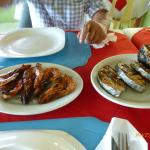 Grilled prawns and fish