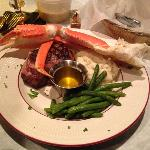 Bacon-wrapped Filet, Snow Crab, Mash and String Beans