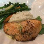 Scottish Salmon with mashed potatoes and fresh vegetables