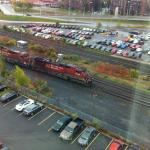 View of passing train from our room