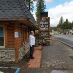 Me outside the Log Cabin Cafe.