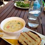 Seafood chowder. Larger serve available in a bowl. Delicious!